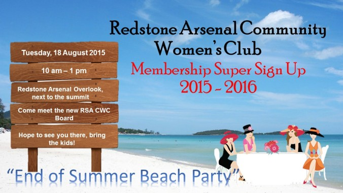 Redstone Arsenal Community Womens Club sign up flyer 2015